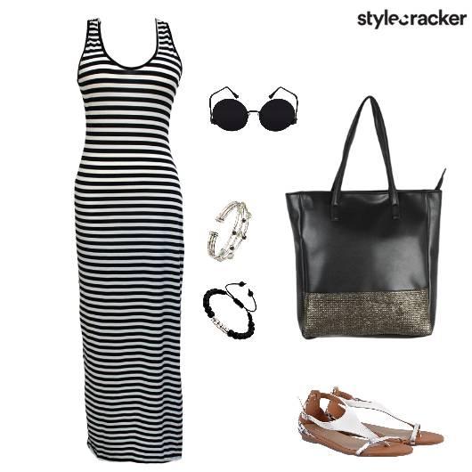 Maxidress Stripes Monochrome - StyleCracker