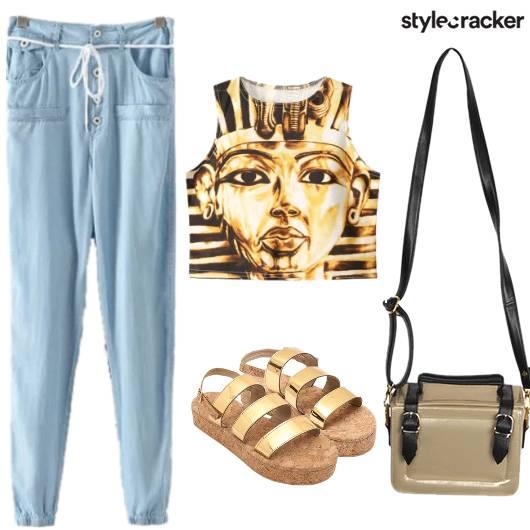 Pharaoh CropTop DrawStringPants Laidback - StyleCracker