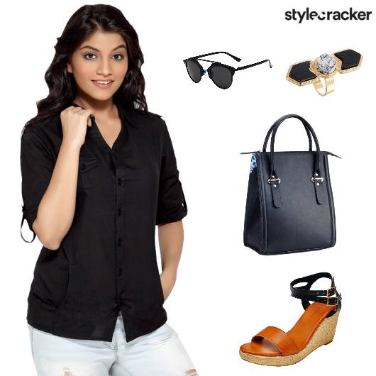 BlackShirt DistressedDenim TanWedges - StyleCracker