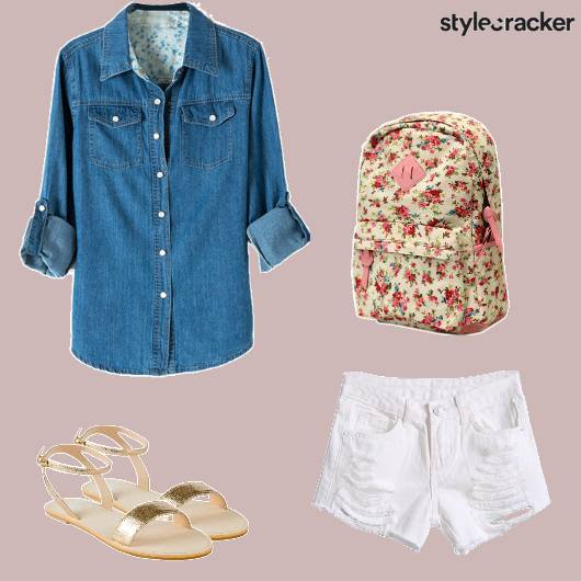 Casual College DenimShirt FloralBackpack  - StyleCracker