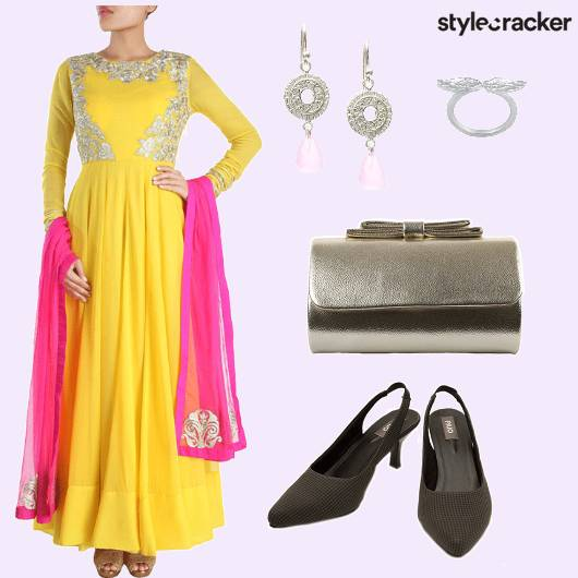 Anarkali Clutch Earrings Ring - StyleCracker