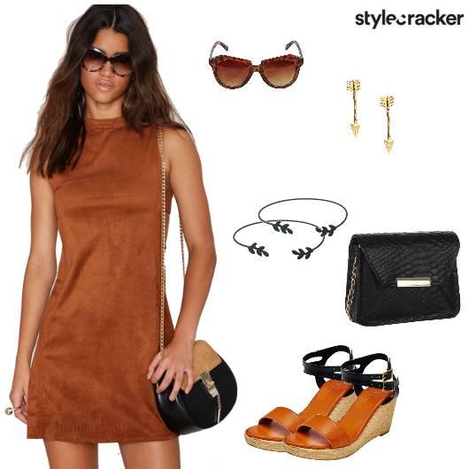 Dress Suede Slingbag Wedges Brunch - StyleCracker