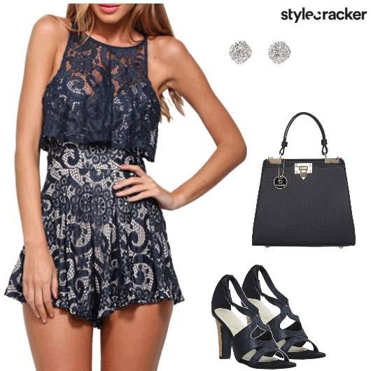 Playsuit Heels Lace Handbag Casual - StyleCracker