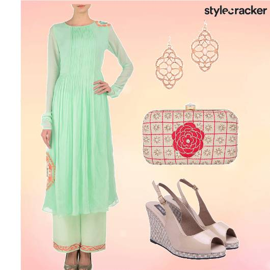 Anarkali Pallazos Wedges  Danglers - StyleCracker