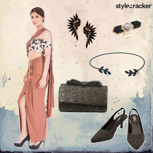 DrapedSaree Clutch Heels Earrings - StyleCracker