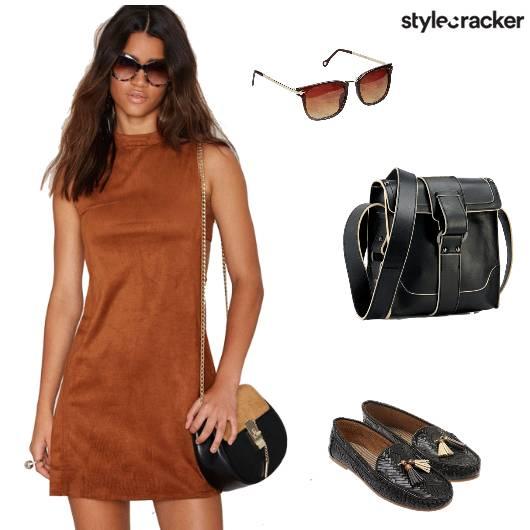 Tan Semiformal Dress Streetstyle - StyleCracker
