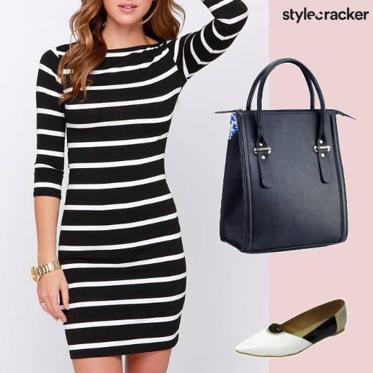 Monochrome Bodycon Smartcasual Dress - StyleCracker