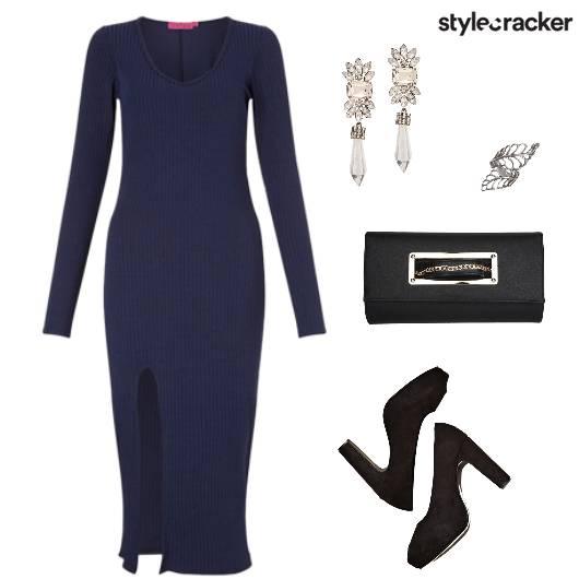 Formal Bodycon Navy Party Nightout - StyleCracker