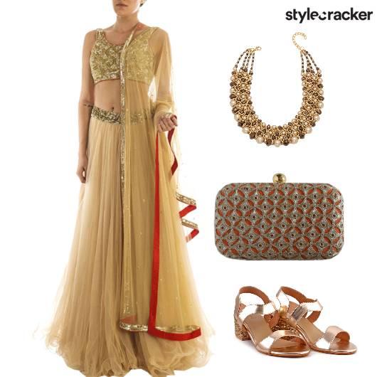 Lehenga Choli Gold Statement Necklace Indian Wedding  - StyleCracker
