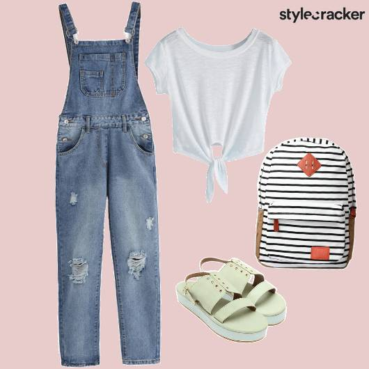 Tieup Croptop Dungaress Striped Backpack Casual - StyleCracker