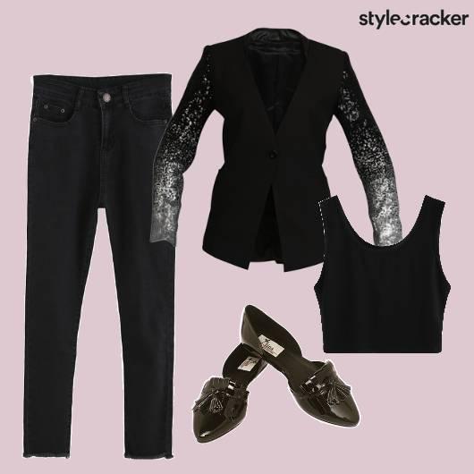 Black Blazer Crop Formal Party Night  - StyleCracker