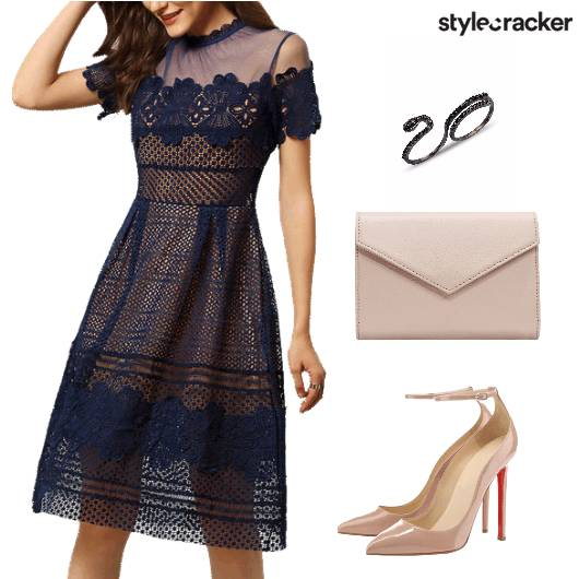 Navy Lace Dress Nude Pumps  - StyleCracker