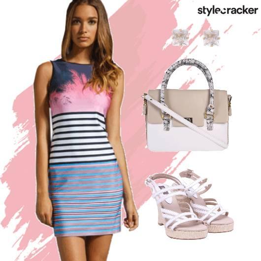 Printed Bodycon Dress Wedges Daywear  - StyleCracker