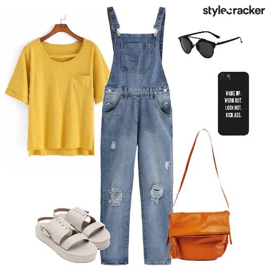 Overall Tshirt Flatforms Casual  - StyleCracker