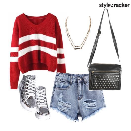 Sweatshirt Rippedshorts Sneakers Slingbag  - StyleCracker