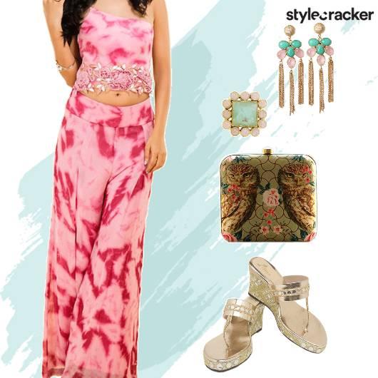 FestiveIndian TieAndDye PallazoPants CropTop - StyleCracker