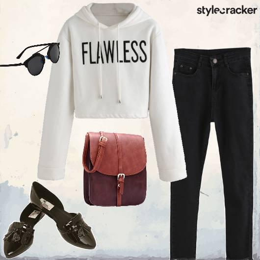 Casual CropSweatShirt Denims ContrastBag - StyleCracker
