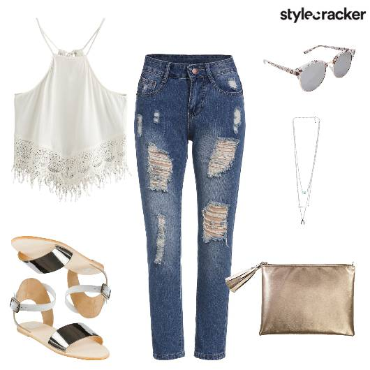 Lace Ripped Weekend Jeans Casual - StyleCracker