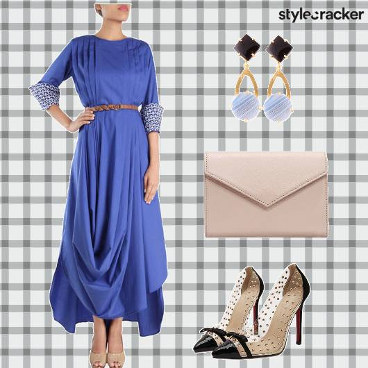 DrapedDress  Earrings Pumps Clutch - StyleCracker