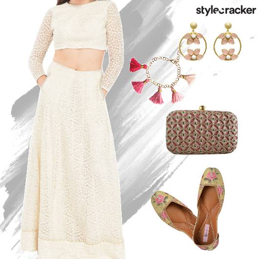 FestiveIndian Croptop Skirt PrintedJutti - StyleCracker