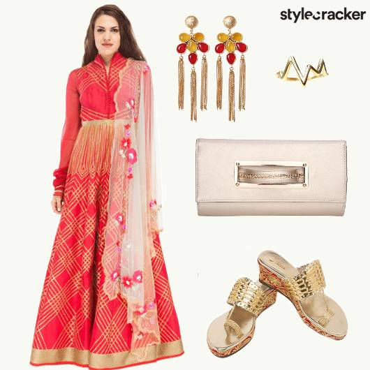 Ethnic KurtaSet Danglers Wedges  - StyleCracker