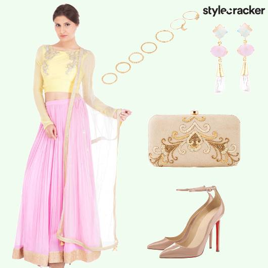 Lehenga Choli Earrings Clutch - StyleCracker