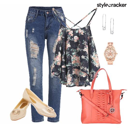 Top Floral Ripped Print Bag Shoes - StyleCracker