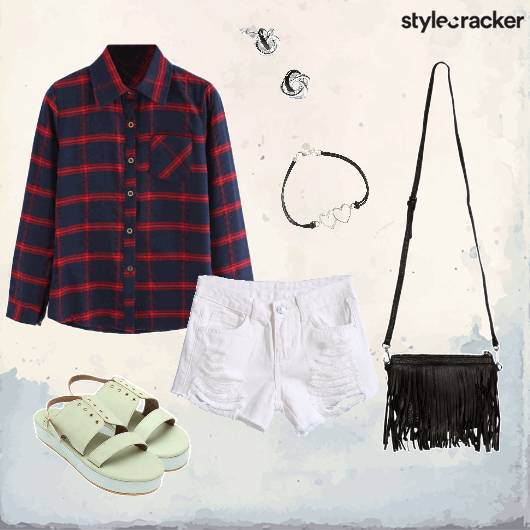 Plaid Shorts Fringe Casual College  - StyleCracker