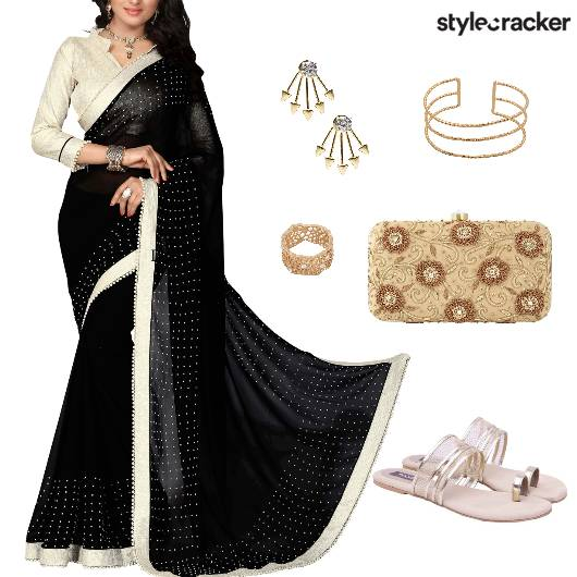 Indian Saree Black Gold  - StyleCracker