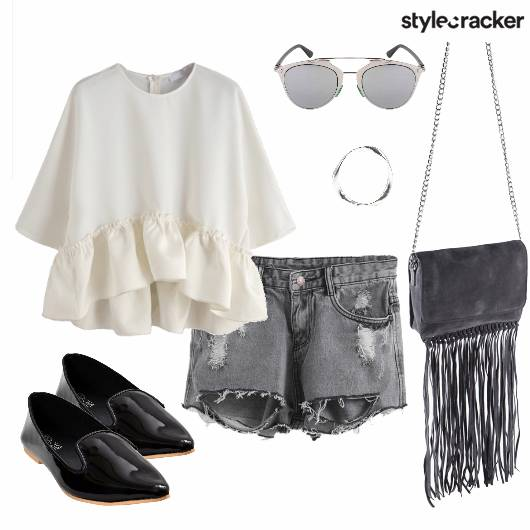 Flounce Ripped Shorts Fringe Day - StyleCracker