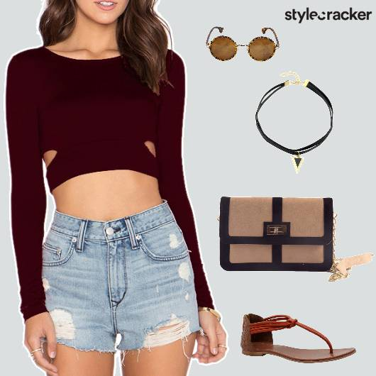 Croptop Shorts Flats Slingbag Casual - StyleCracker
