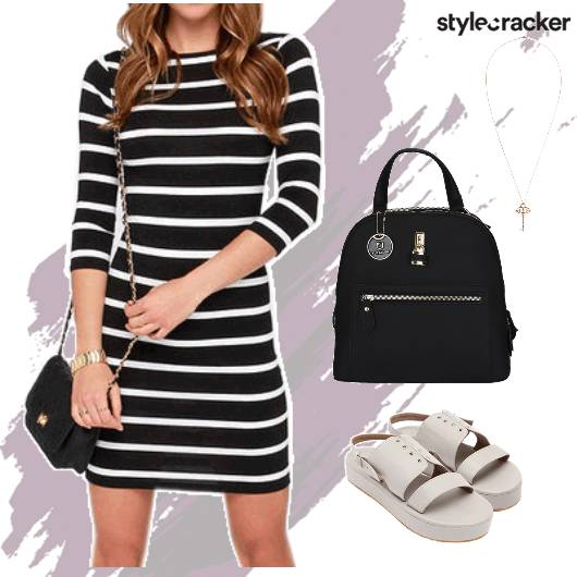 Striped Dress Flatforms Necklace Sling  - StyleCracker