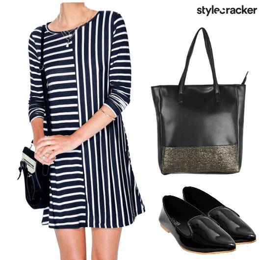 Monochrome Stripes Dress Casual - StyleCracker