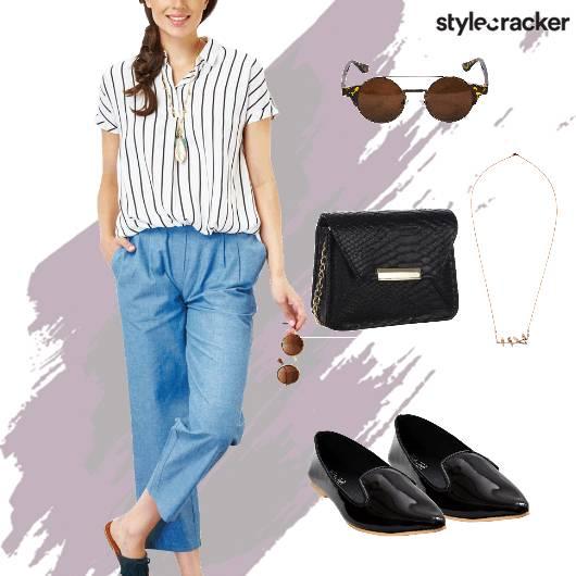 Casual Striped Shirt Sunglasses Necklace  - StyleCracker