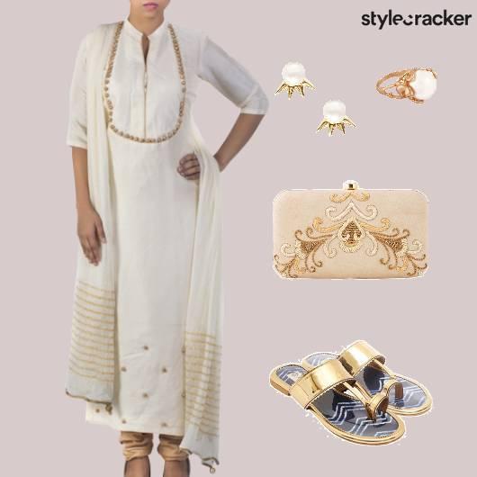Indian White Gold Kolhapuri Clutch  - StyleCracker
