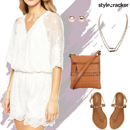 Playsuit Lace Flats Slingbag Layerednecklace - StyleCracker