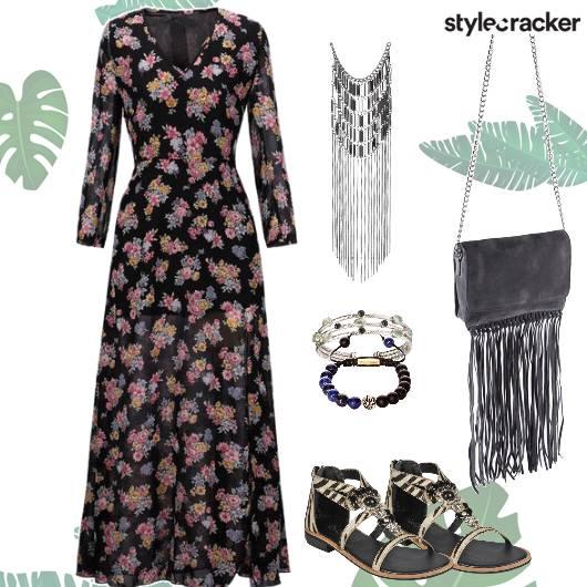 Floral Maxi Fringe Bag Bracelets  - StyleCracker