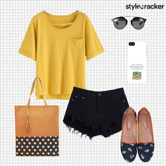 Tshirt Shorts Slipons Handbag Casual - StyleCracker