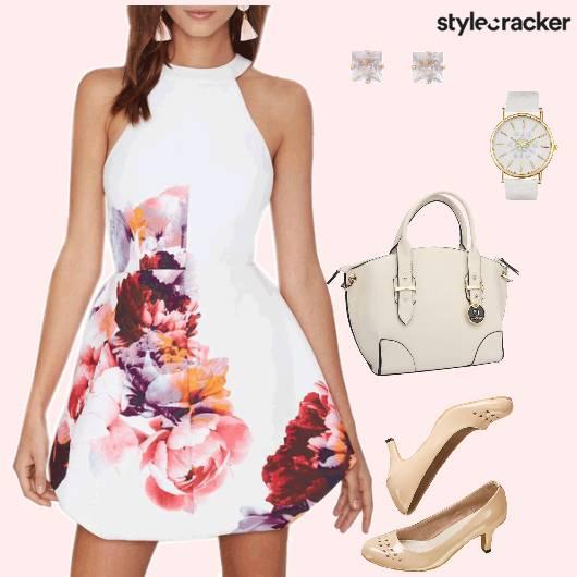Floral Fitandflare Pumps Handbag  - StyleCracker