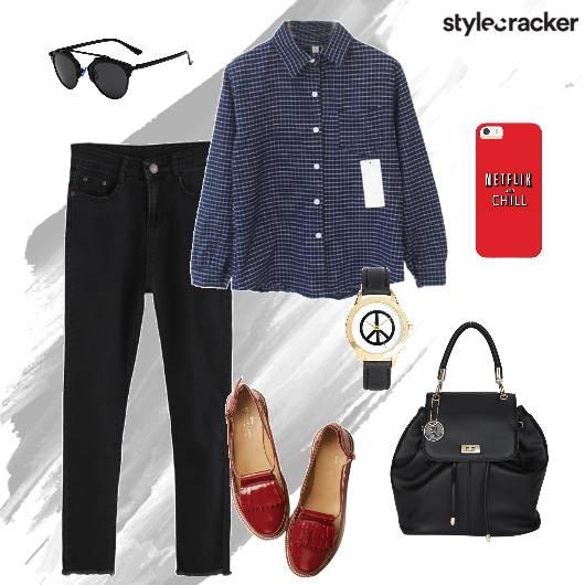 Buttondownshirt Denims Loafers Backpack Casual - StyleCracker
