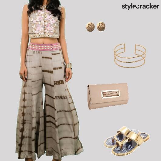 Croptop Flaredpants Flats Clutch Ethnic - StyleCracker