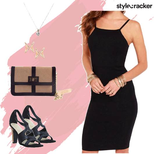 BodyConDress SlingBag BlockHeels - StyleCracker