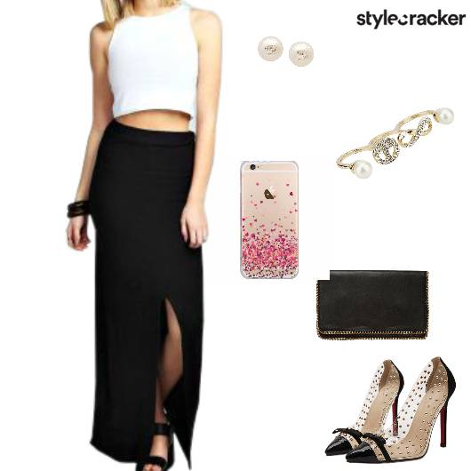 Maxiskirt Croptop Heels Party - StyleCracker