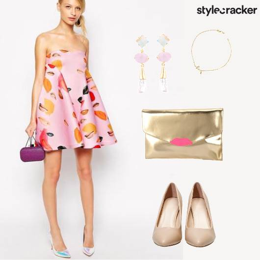 Lip Print Dress Nude Party  - StyleCracker