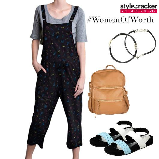 Women'sDay WomenOfWorth Dungarees Backpack StrappyFlats - StyleCracker
