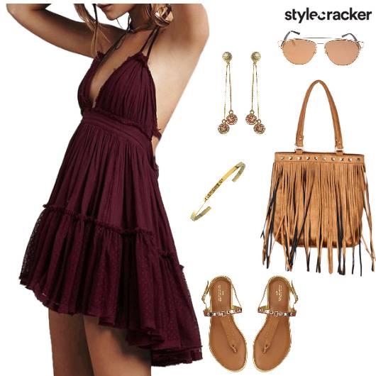 HalterNeck Dress Fringe Summer Beach - StyleCracker