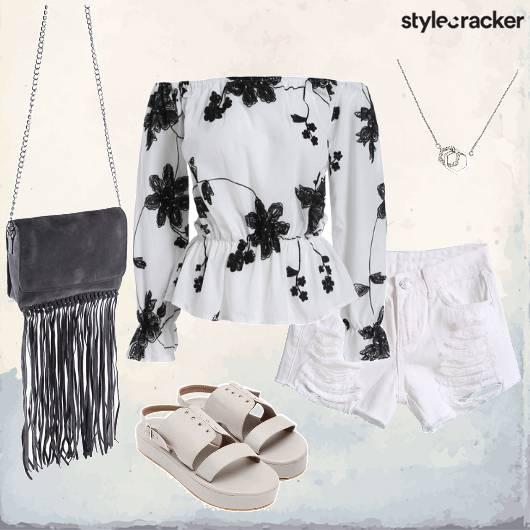 Floral Offshoulder Shorts Fringe Summer - StyleCracker