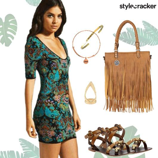 Casual Summer Fringe Printed Dress - StyleCracker