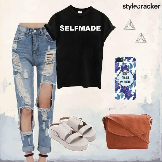Tshirt Distressedjeans Crossbodybag Flatforms Casual - StyleCracker