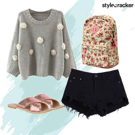 Sweater Shorts Backpack Flats - StyleCracker